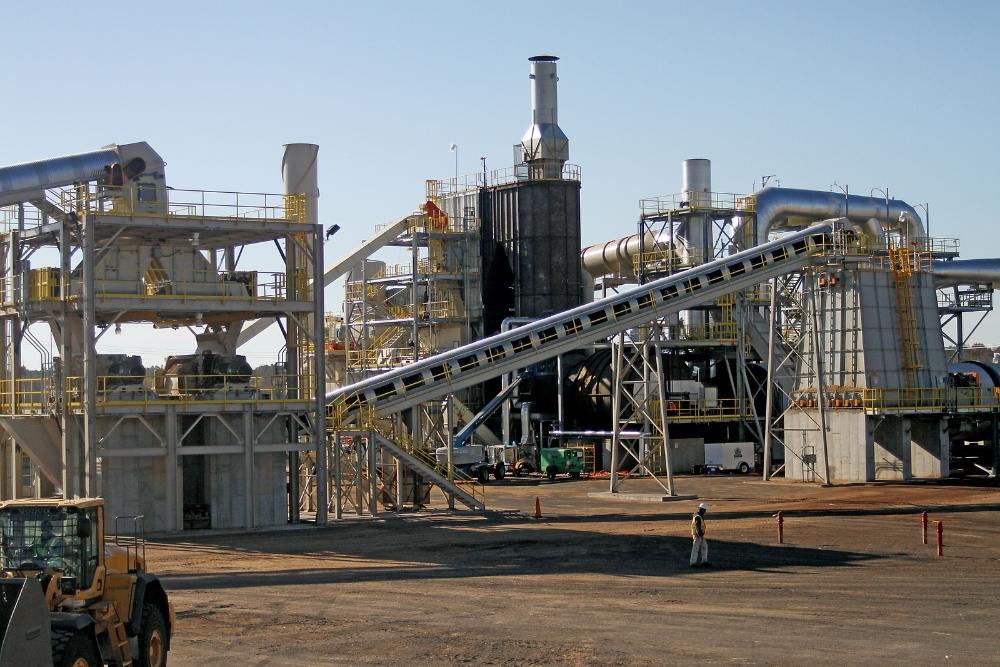 Wood pellet processing plant.