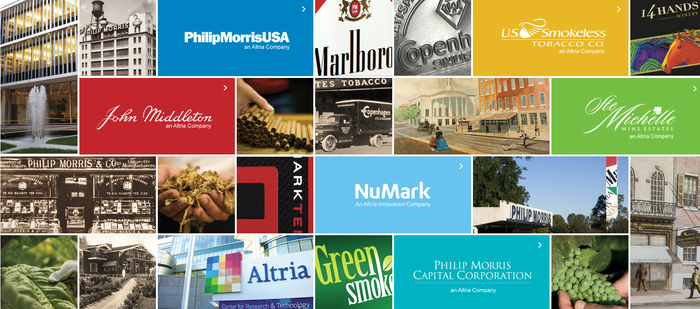 Collage of Altria's business units, including corporate logos, products, and production facilities.