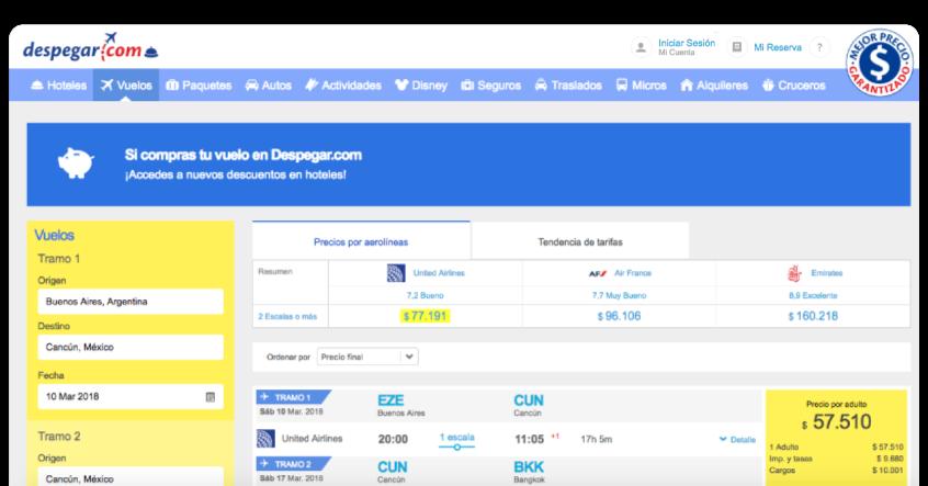 Screenshot of Despegar.com's portal.