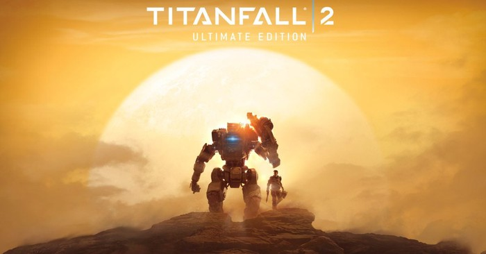 Electronic Arts' Titanfall 2 game art depicting a robot character standing on a mountaintop with a sunny horizon in the background.