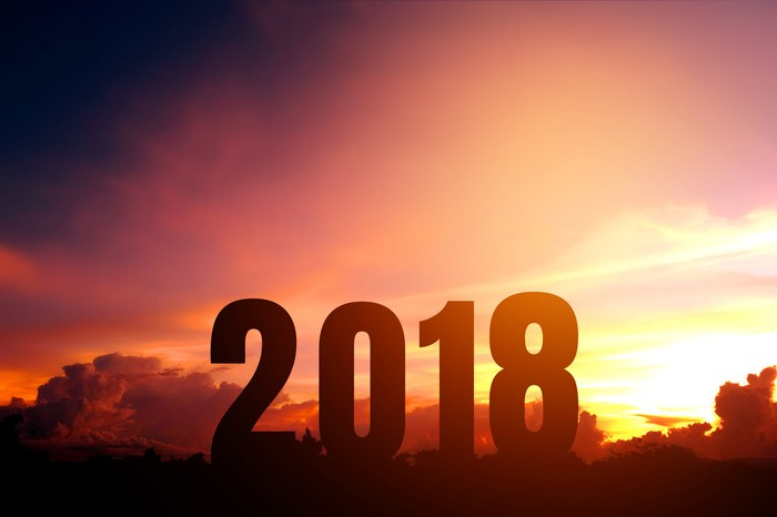 2018 in large numbers in front of setting sun.