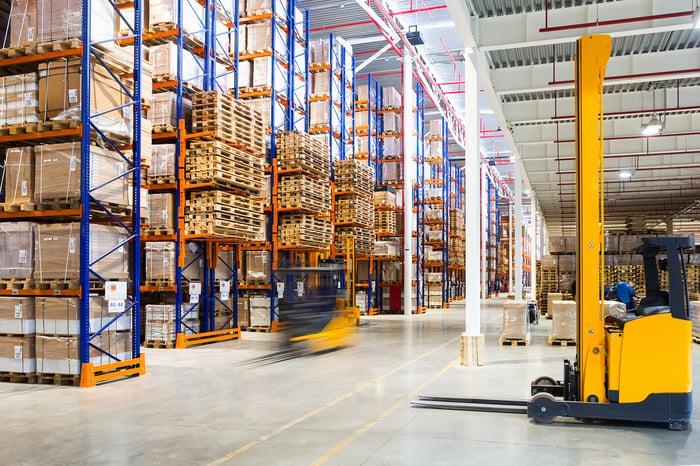 Inside of a modern warehouse facility.