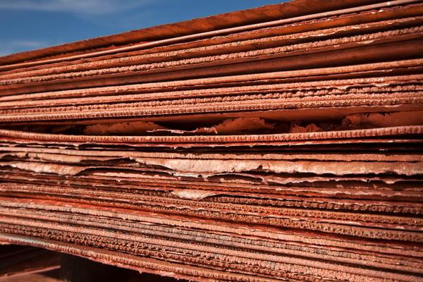 Stacks of copper.