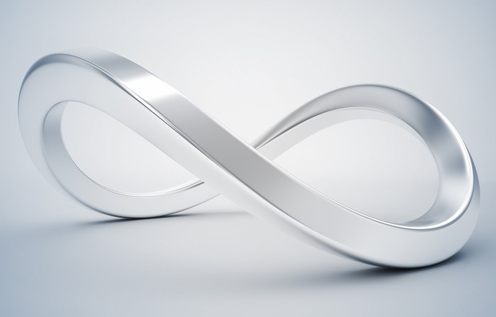 A silver infinity symbol.