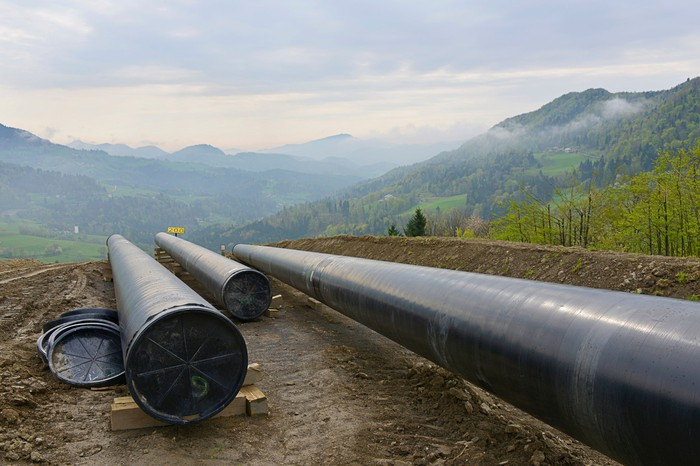 Oil pipeline under construction.