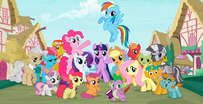 A colorful scene showing the Mane 6 and some supporting characters from My Little Pony: Friendship Is Magic.