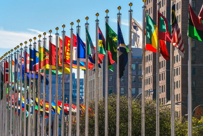 International flags on display outside the United Nations building in New York.
