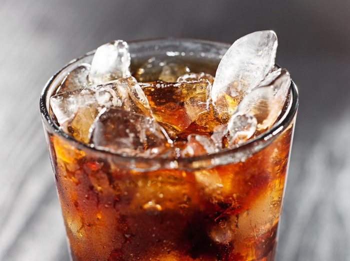 Soda in a glass with ice