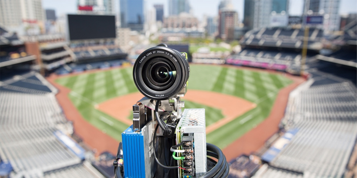 Close-up picture of an Intel camera at a baseball park used for its 360 degree view of a game.