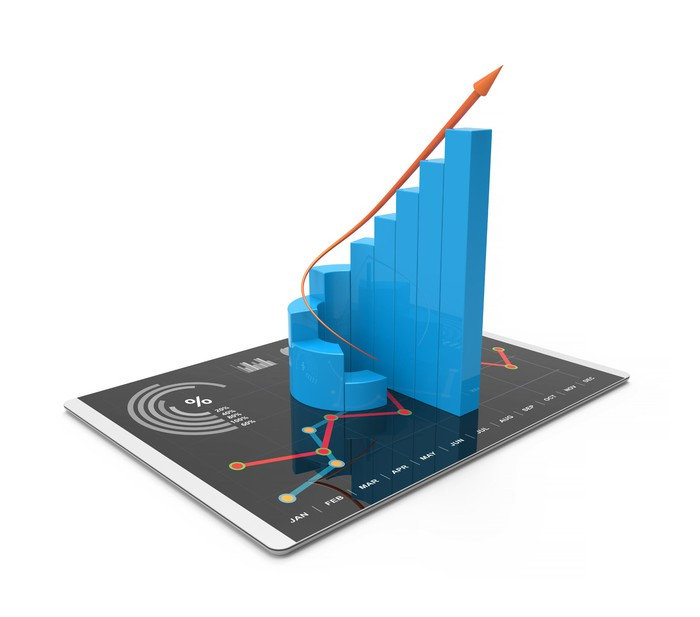 A bar chart going up from left to right, stationed on top of a tablet.