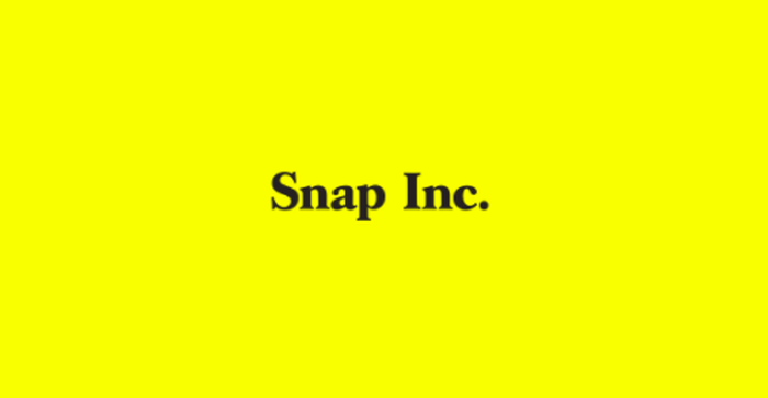 Snap Inc. in black letters on a bright yellow background