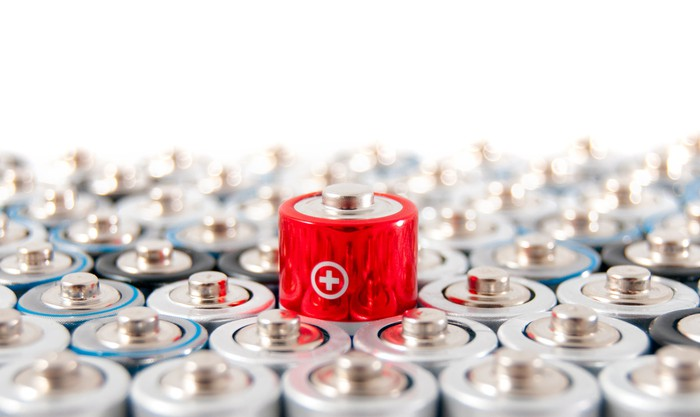 Rows of AA batteries with one red battery showing above the rest