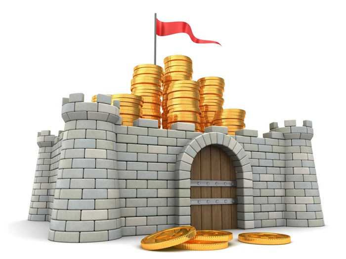 Cartoon castle with coins on it