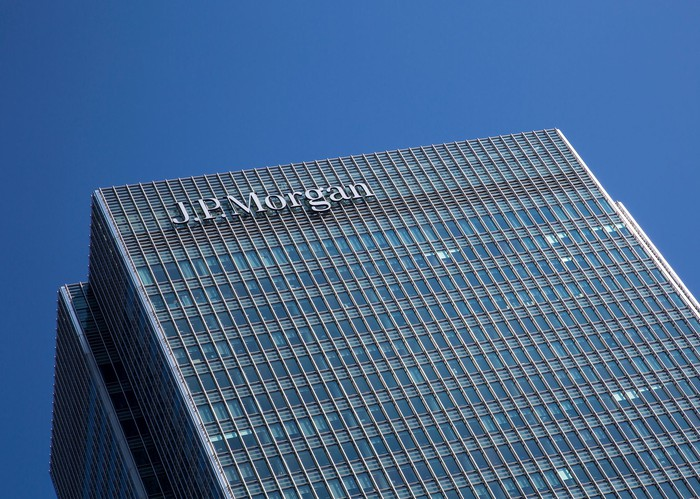 A JPMorgan Chase building in London's Canary Wharf.
