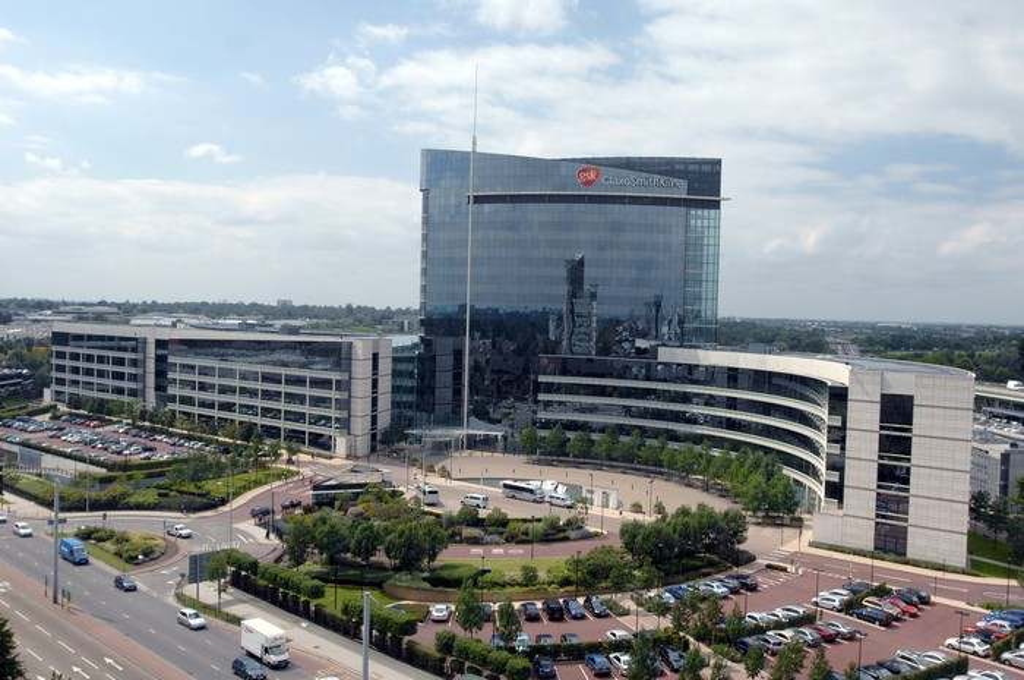 Aerial view of GlaxoSmithKline headquarters.