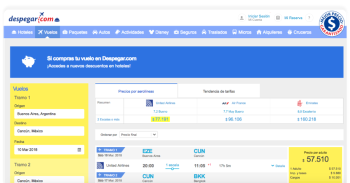 Despegar's booking screen with a sample fare.