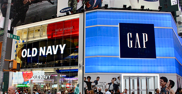 The Old Navy and Gap stores in Times Square
