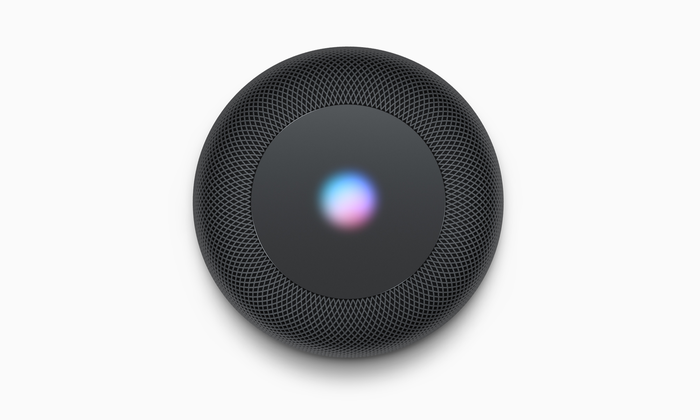 Top view of black HomePod with Siri interface