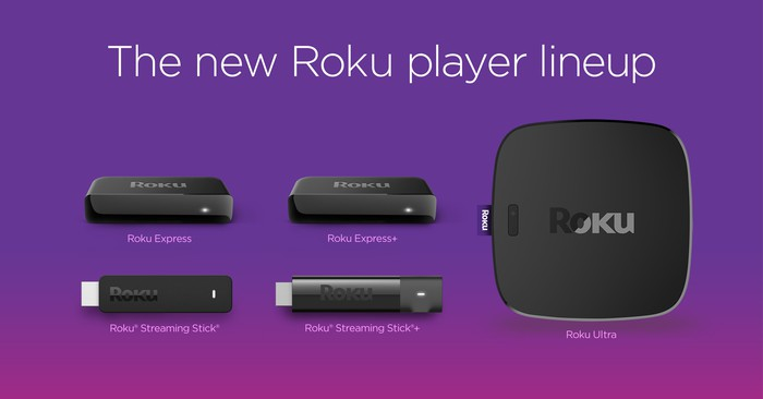 Lineup of Roku's five latest media players.