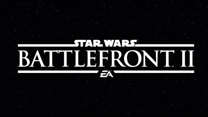 Star Wars Battlefront 2 logo in white text against black background.