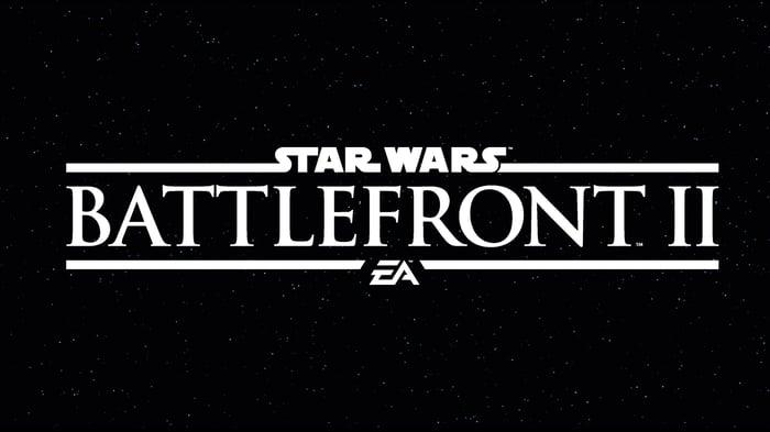 Star Wars Battlefront 2 logo in white text against black background.