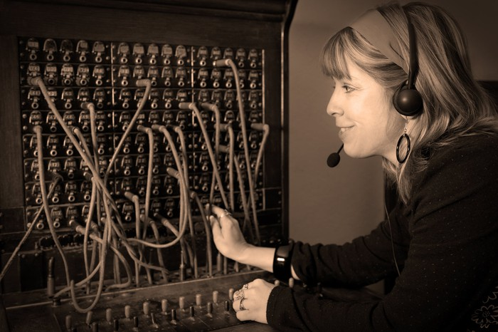 Operator at phone switchboard