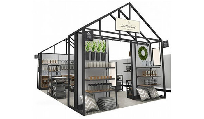 A rendering of an in-store display for the new Hearth and Hand with Magnolia brand. The display looks like a small house that shoppers can walk into and peruse various home goods and decorations.