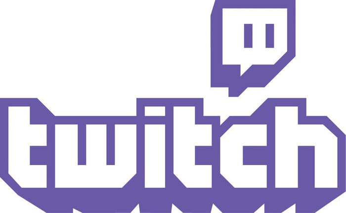 Twitch logo in purple against white background.