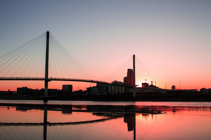 Omaha Nebraska skyline and the Kerrey Pedestrian Bridge at sunset