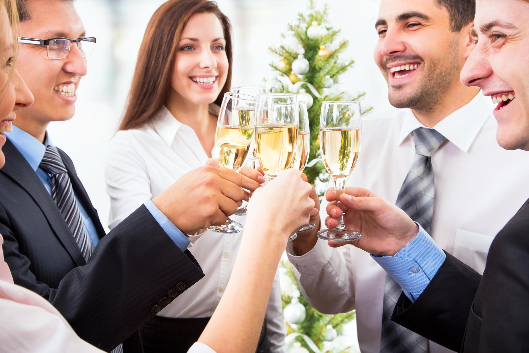 Professionals toasting