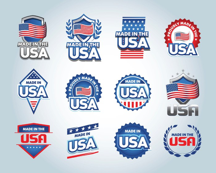 "a collection of ""made in USA"" emblems"