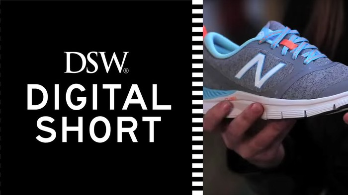 DSW logo with promotion, including picture of grey and blue shoe held by a hand.