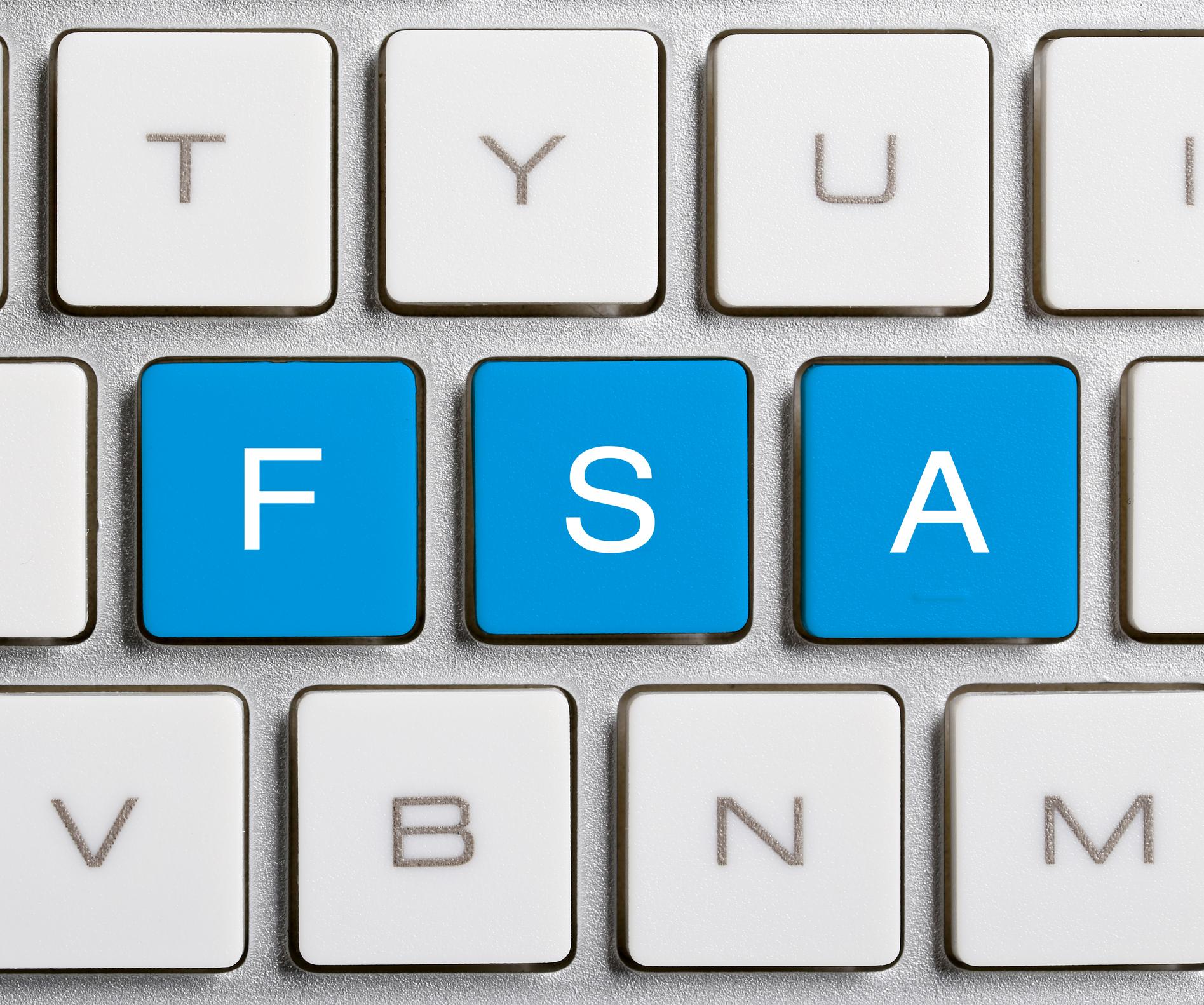 FSA in blue keys on a computer keyboard