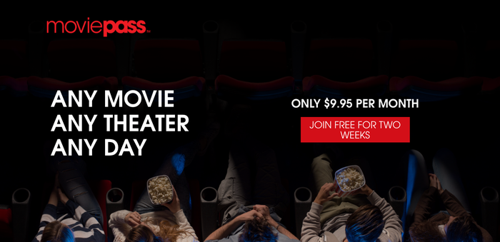 MoviePass screen that reads Any Movie Any Theater Any Day for $9.95 per month.