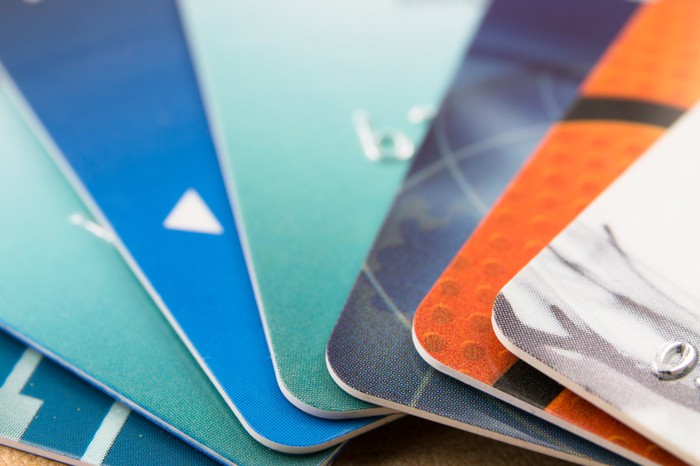 Close up of several credit cards fanned out.