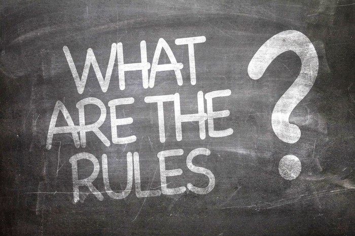 What Are The Rules? written on chalkboard.