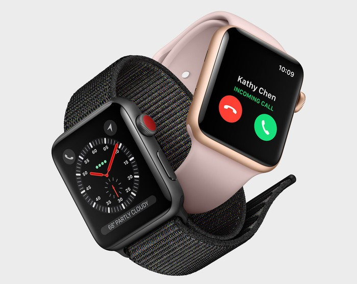Two Apple Watches next to each other.