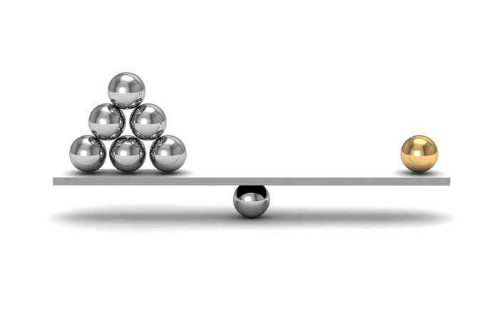 One gold sphere balancing against six silver spheres on a balance beam.
