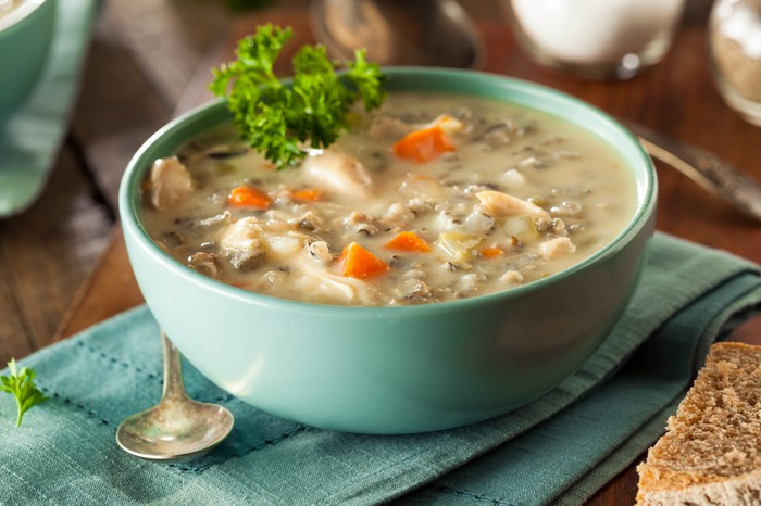 Chicken wild rice soup in a bowl