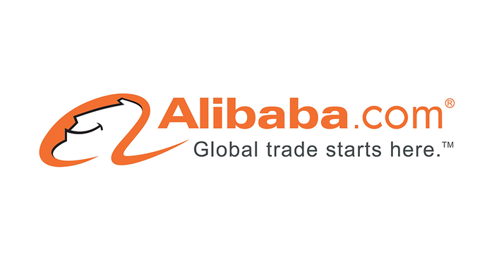 Alibaba logo with a Global trade starts here tagline.