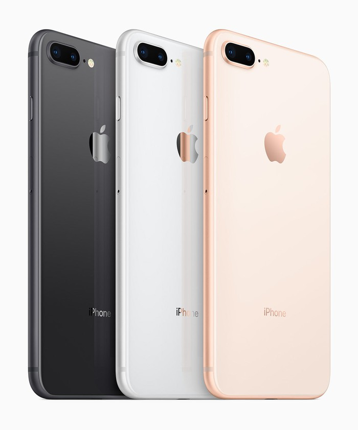 Apple's iPhone 8 Plus smartphones in Space Gray, Silver, and Gold.