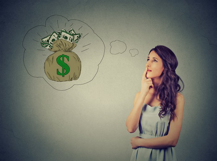 Woman thinking of money, as visualized by a thought bubble.