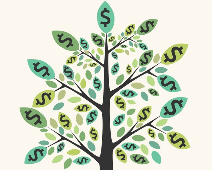 Illustration of a tree with dollar signs as leaves.