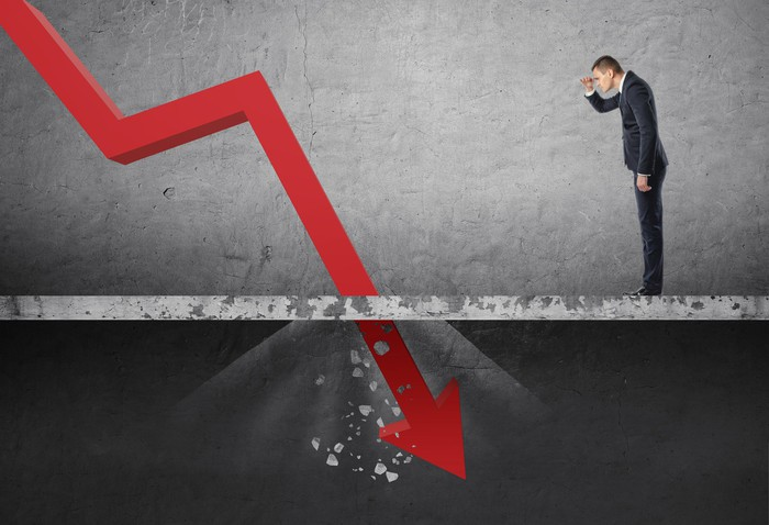 Man looking down at red line chart punching through floor