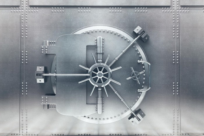 Front of a bank vault that is closed