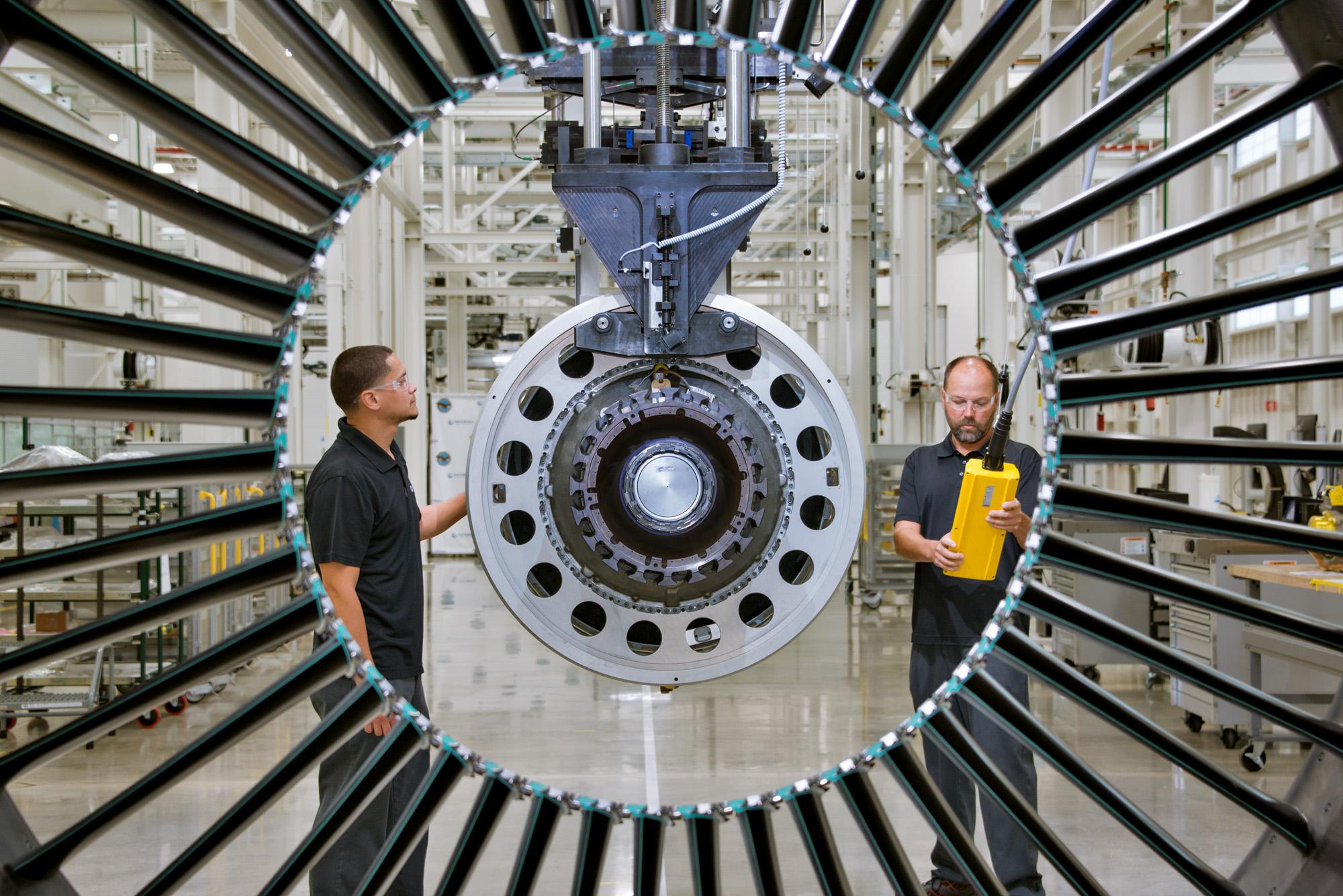 A geared turbofan engine in testing