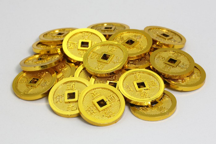 Pile of Chinese gold coins
