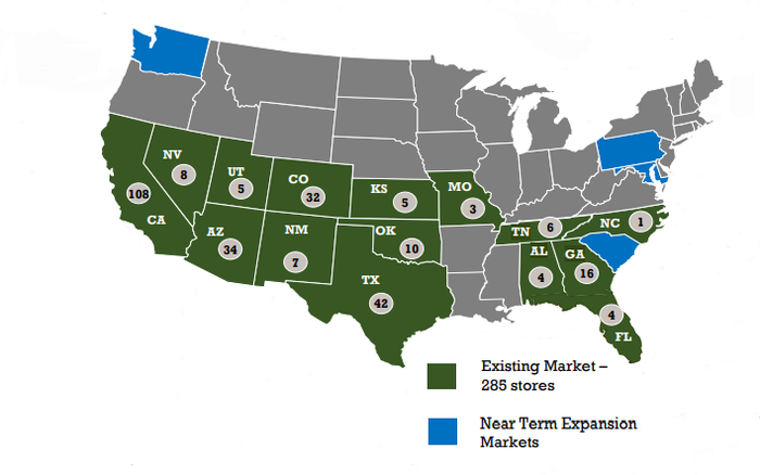 U.S. map showing existing locations of Sprouts Farmers Markets in green, and near-term Sprouts expansion markets in blue.