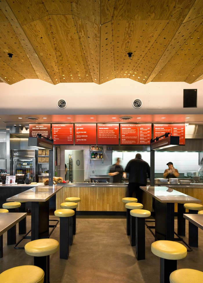 The interior of a Chipotle store.