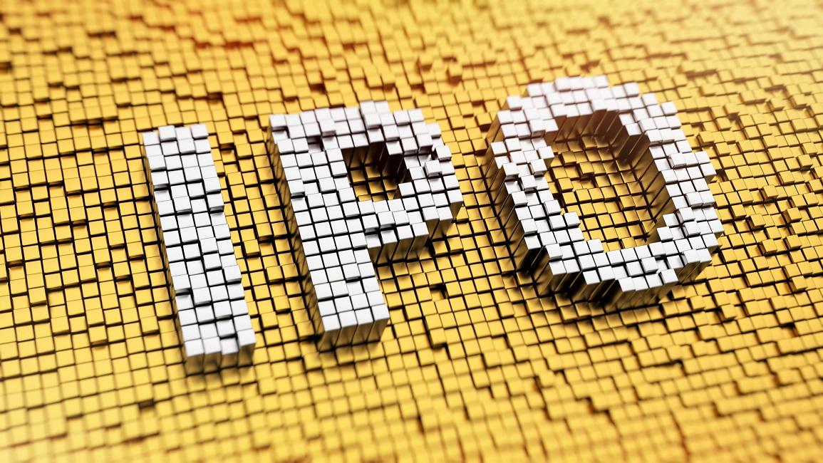 Pixelated text reading IPO